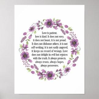 Liebe ist geduldiges Hochzeits-Liebe-Zitat-Plakat Poster