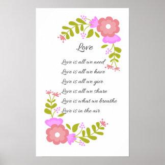 Liebe ist im Luft Poesie-Blumenplakat Poster