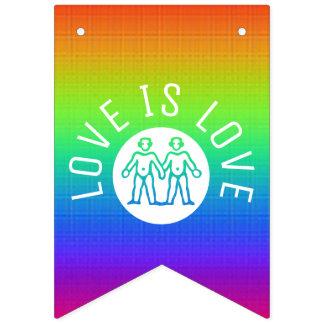 Liebe ist Regenbogen des Liebe-Typografie-Gay Wimpelketten