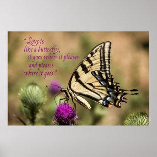 """Liebe ist wie ein Schmetterlings-"" Plakat"
