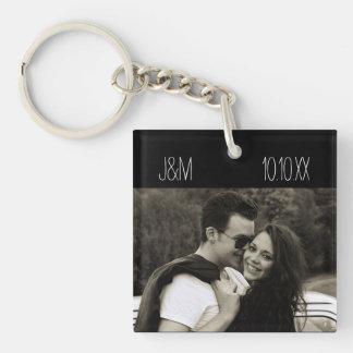 Liebe-Jahrestags-Paar-Foto-Datums-Initialen Schlüsselanhänger