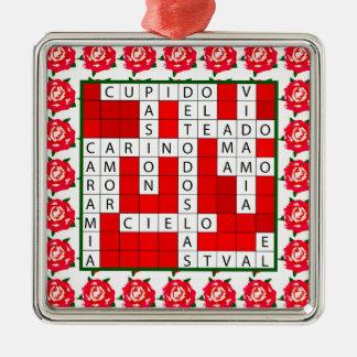Liebe-Kreuzworträtsel auf spanisch auf Silbernes Ornament