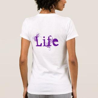 Liebe-Leben in Vintagem weißem Orange und lila Tshirt