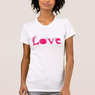Liebe-Leben in Vintagem weißem rosa und im Blau T Shirt