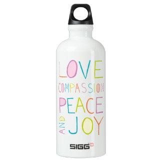 Liebe, Mitleid, Frieden, Freude Aluminiumwasserflaschen