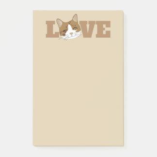 LIEBE - niedliche glückliche Katzen-beige Post-it Klebezettel