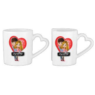 Liebe-Paar-Herz-Kaffee-Tassen-Set Herztasse