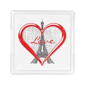 Liebe Paris Eiffel-Turm-| im Herzen Acryl Tablett