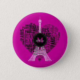Liebe-Paris   Eiffel-Turm-  Monogramm Runder Button 5,7 Cm