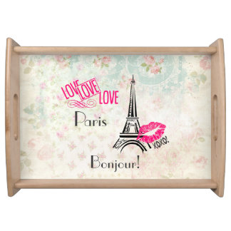 Liebe Paris mit Eiffel-Turm auf Vintagem Muster Tablett