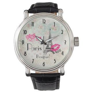 Liebe Paris mit Eiffel-Turm auf Vintagem Muster Uhren