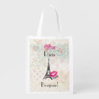 Liebe Paris mit Eiffel-Turm auf Vintagem Muster Wiederverwendbare Einkaufstasche