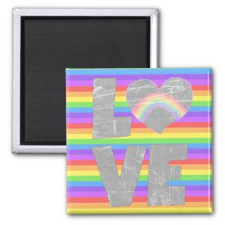 Liebe-Regenbogen im Herz-Magneten Quadratischer Magnet