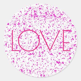 Liebe-rosa dalmatinische Druck-Aufkleber Runder Aufkleber