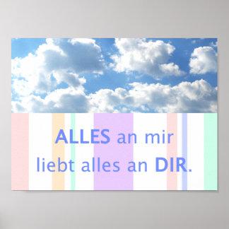 Liebe, schöne Sprüche deutscher Spruch Himmel Poster