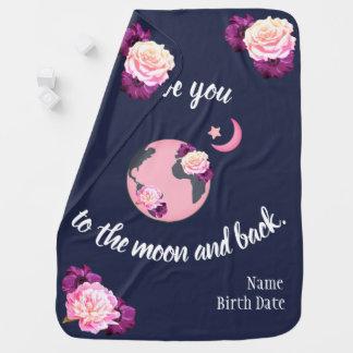 Liebe Sie zum Mond und hinteren zur Baby-Decke Babydecke