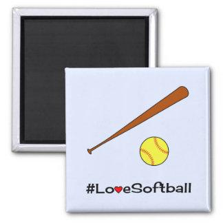 Liebe Softball hashtag Slogansport Quadratischer Magnet