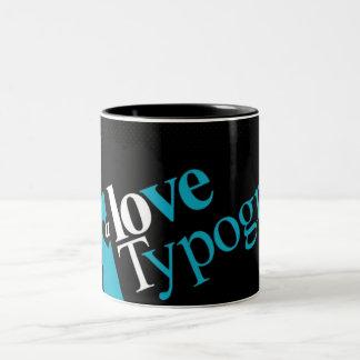 Liebe-Typografie-Tasse Zweifarbige Tasse