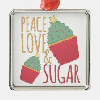 Liebe u. Zucker Silbernes Ornament