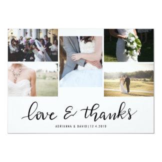 Liebe-und des Dank-Skript-fünf Paar-Foto-Hochzeit 12,7 X 17,8 Cm Einladungskarte