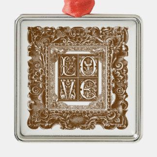 Liebe-Verzierung Quadratisches Silberfarbenes Ornament
