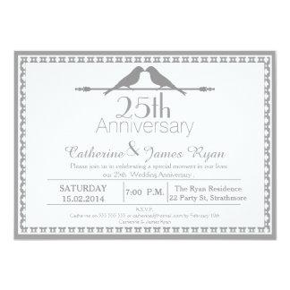 Liebe-Vogel-25. Hochzeits-Jahrestags-Einladung 11,4 X 15,9 Cm Einladungskarte
