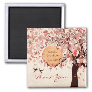 Liebe-Vögel - Hochzeit im Herbst danken Ihnen zu Quadratischer Magnet