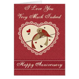 Liebe-Vogel-Jahrestag Grußkarte