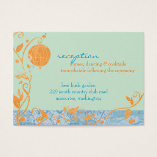 Liebe-Vogel-tadelloser Hochzeits-Empfang Visitenkarte