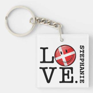 Liebe von lächelnder Flagge Dänemarks Schlüsselanhänger