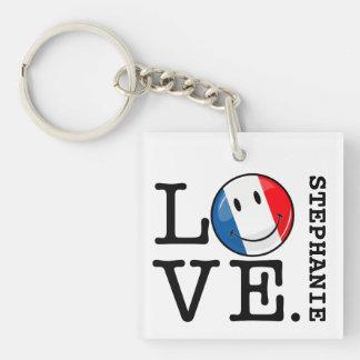 Liebe von lächelnder Flagge Frankreichs Schlüsselanhänger