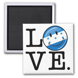 Liebe von lächelnder Flagge Hondurass Quadratischer Magnet