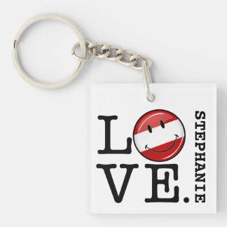 Liebe von lächelnder Flagge Österreichs Schlüsselanhänger