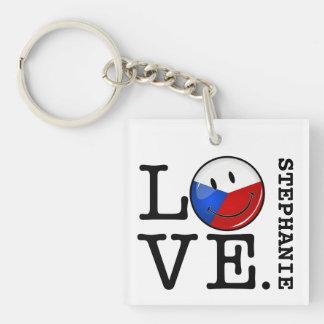 Liebe von Tschechische Republik-lächelnder Flagge Schlüsselanhänger
