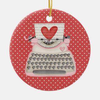 Liebeschreibmaschine Rundes Keramik Ornament
