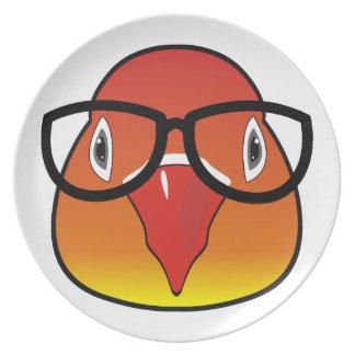 Liebevogel mit Gläsern Teller
