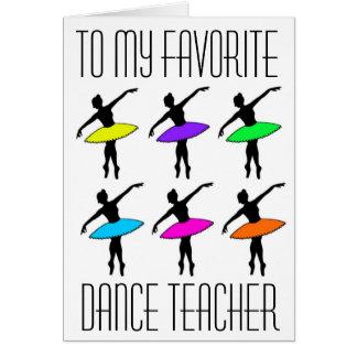 Lieblingstanz-Lehrer-Ballett-Erwägungsgrund danken Karte