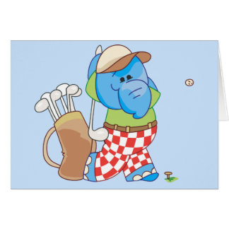 Lil blaues Elefant-Golf spielen Karte