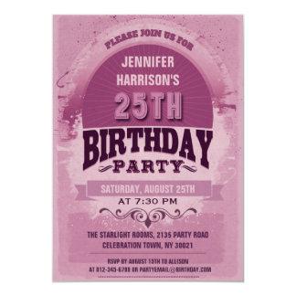 Lila 25. Geburtstags-Vintage Typografie 12,7 X 17,8 Cm Einladungskarte