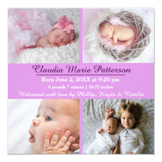 Lila 4 Fotos - Geburts-Mitteilung Quadratische 13,3 Cm Einladungskarte