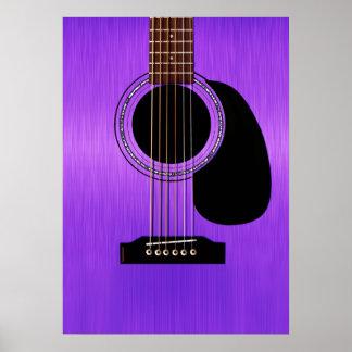 Lila Akustikgitarre Poster