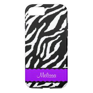 Lila Akzent mit weißem und schwarzem Tiger iPhone 7 Hülle