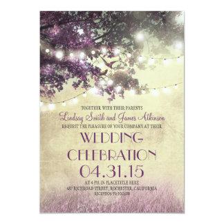 Lila Baum Lichter u. Vögel, die Einladung Wedding