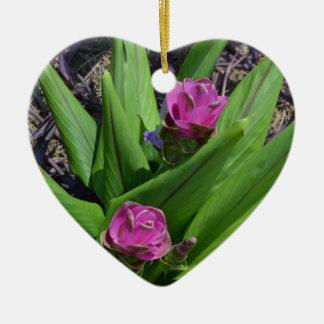 Lila Blume Keramik Ornament