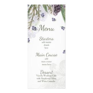 lila Blumen Watercolor-Hochzeitsmenü Werbekarte