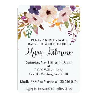 Lila Blumenbaby-Duschen-Einladung 12,7 X 17,8 Cm Einladungskarte