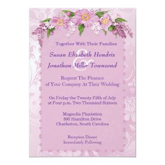 Lila Blumenhochzeits-Einladungen 12,7 X 17,8 Cm Einladungskarte