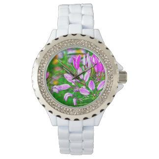 Lila Blumenweiße Rhinestone-Uhr Armbanduhr