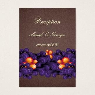 lila braune Hochzeit Empfangs-Karten Visitenkarte