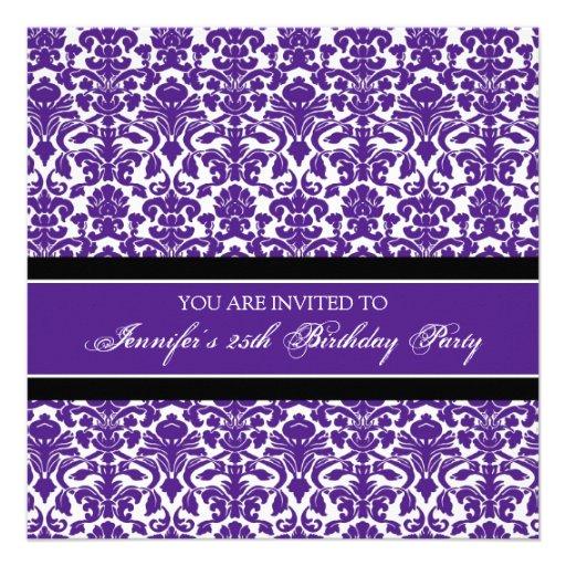 Lila Damast-25. Geburtstags-Party Einladungen